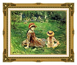 Berthe Morisot In The Garden At Maurecourt canvas with museum ornate gold frame