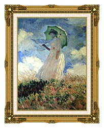 Claude Monet Woman With Umbrella Turned To The Left canvas with museum ornate gold frame