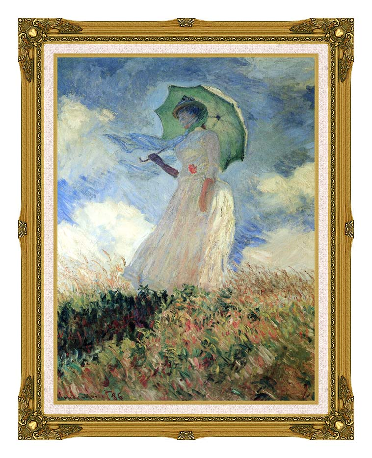 Claude Monet Woman with Umbrella Turned to the Left with Museum Ornate Frame w/Liner