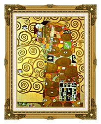 Gustav Klimt Fulfillment Detail canvas with museum ornate gold frame