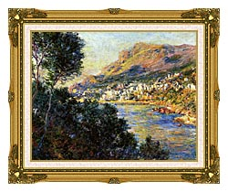 Claude Monet Monte Carlo Seen From Roquebrune canvas with museum ornate gold frame