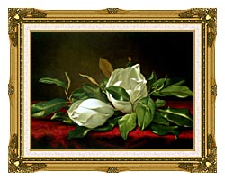Martin Johnson Heade Giant Magnolias canvas with museum ornate gold frame