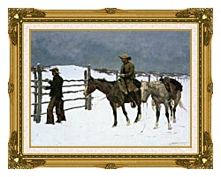 Frederic Remington The Fall Of The Cowboy canvas with museum ornate gold frame