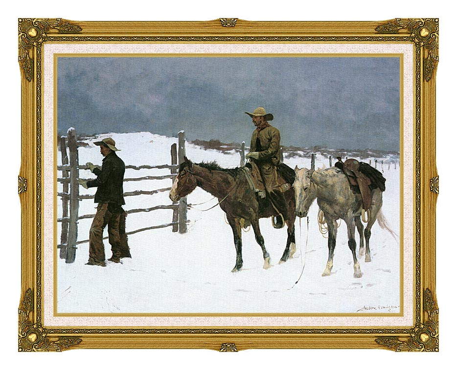 Frederic Remington The Fall of the Cowboy with Museum Ornate Frame w/Liner
