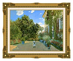 Claude Monet Monets House At Argenteuil canvas with museum ornate gold frame