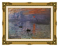 Claude Monet Impression Sunrise canvas with museum ornate gold frame
