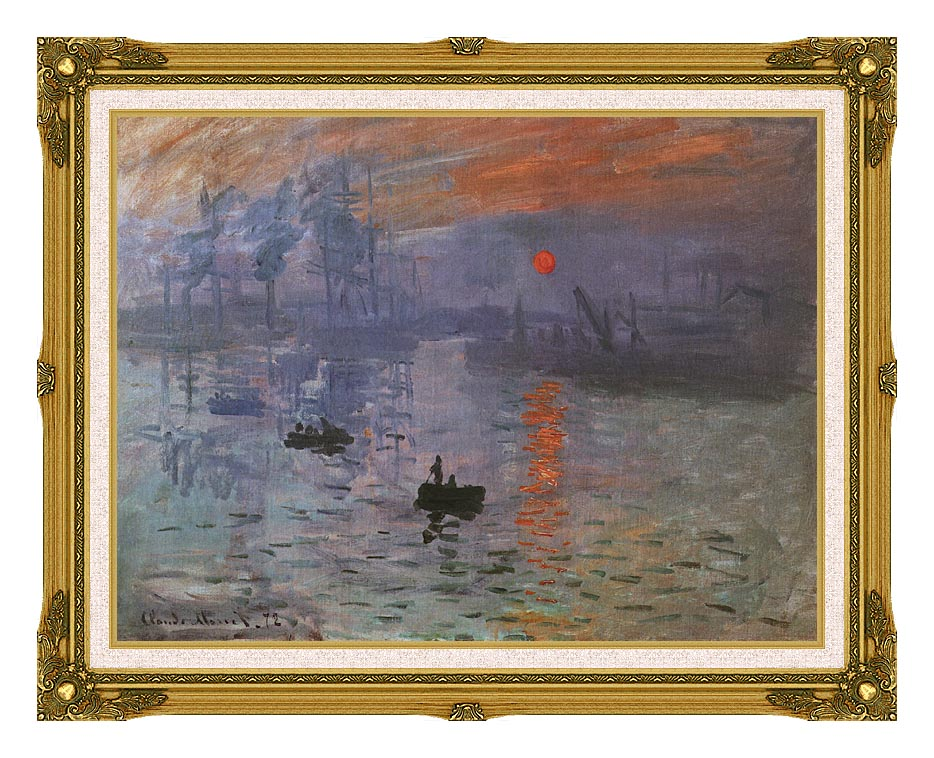 Claude Monet Impression, Sunrise with Museum Ornate Frame w/Liner