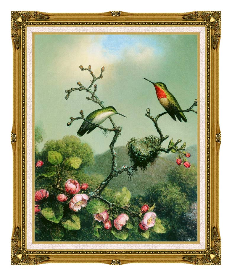 Martin Johnson Heade Ruby Throat of North America with Museum Ornate Frame w/Liner