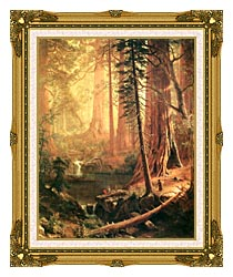 Albert Bierstadt Giant Redwoods Of California canvas with museum ornate gold frame
