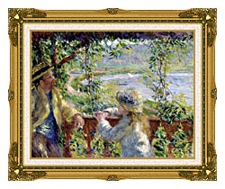 Pierre Auguste Renoir By The Lake canvas with museum ornate gold frame