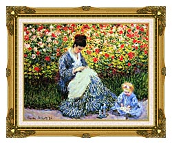 Claude Monet Camille Monet And Child In The Garden canvas with museum ornate gold frame