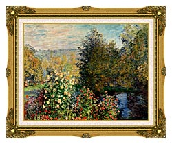 Claude Monet Corner Of A Garden At Montgeron canvas with museum ornate gold frame