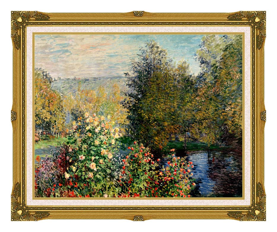 Claude Monet Corner of a Garden at Montgeron with Museum Ornate Frame w/Liner