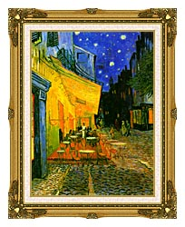 Vincent Van Gogh Cafe Terrace At Night Detail canvas with museum ornate gold frame