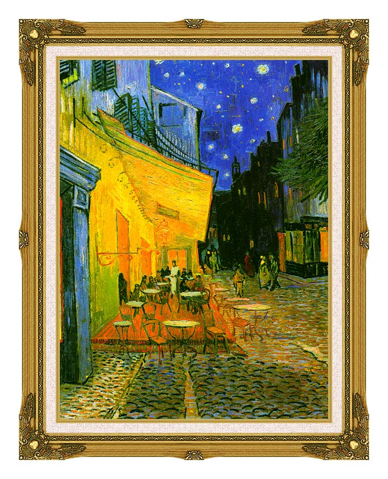 Vincent van Gogh Cafe Terrace at Night (detail) with Museum Ornate Frame w/Liner