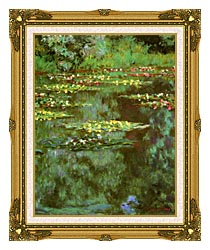 Claude Monet Nympheas 1906 Portrait Detail canvas with museum ornate gold frame