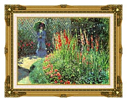 Claude Monet Gladioli canvas with museum ornate gold frame
