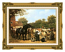 Jacques Laurent Agasse The Country Fair canvas with museum ornate gold frame