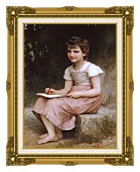 William Bouguereau A Calling canvas with museum ornate gold frame