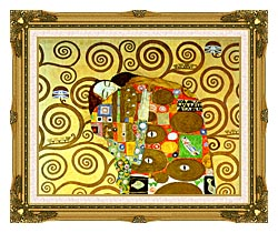 Gustav Klimt Fulfillment Close Up Detail canvas with museum ornate gold frame