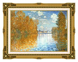 Claude Monet The Seine At Argenteuil Autumn Effect canvas with museum ornate gold frame