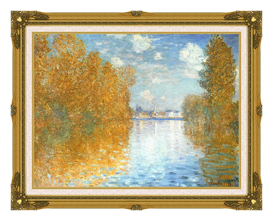 Claude Monet The Seine at Argenteuil, Autumn Effect with Museum Ornate Frame w/Liner