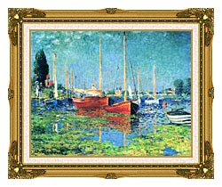 Claude Monet Red Boats Argenteuil canvas with museum ornate gold frame