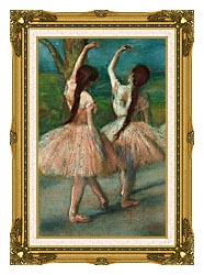 Edgar Degas Dancers In Pink canvas with museum ornate gold frame