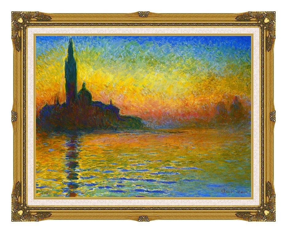 Claude Monet San Giorgio Maggiore at Dusk, Venice with Museum Ornate Frame w/Liner