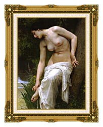 William Bouguereau Woman After The Bath canvas with museum ornate gold frame