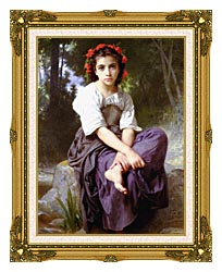 William Bouguereau At The Edge Of The Brook canvas with museum ornate gold frame