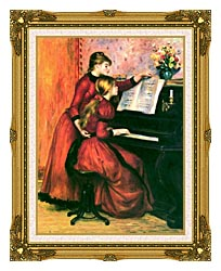 Pierre Auguste Renoir The Piano Lesson canvas with museum ornate gold frame