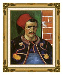 Vincent Van Gogh The Zouave canvas with museum ornate gold frame