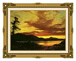 Frederic Edwin Church Sunset Detail canvas with museum ornate gold frame