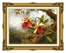Martin Johnson Heade Orchids And Hummingbird canvas with museum ornate gold frame