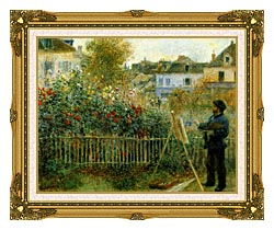 Pierre Auguste Renoir Claude Monet Painting In His Garden At Argenteuil canvas with museum ornate gold frame