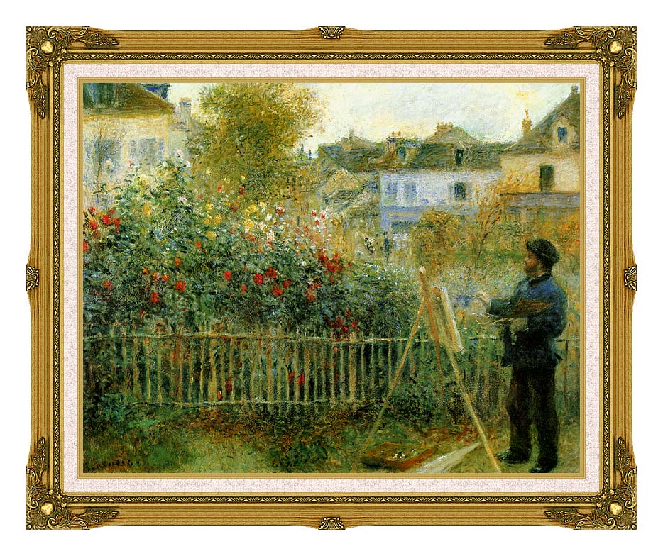 Pierre Auguste Renoir Claude Monet Painting in his Garden at Argenteuil with Museum Ornate Frame w/Liner