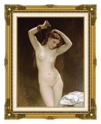 William Bouguereau Bather canvas with museum ornate gold frame