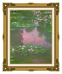 Claude Monet Water Lilies 1905 Portrait Detail canvas with museum ornate gold frame