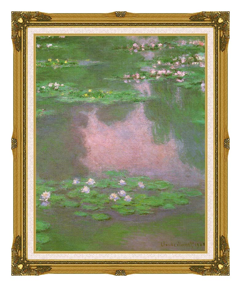 Claude Monet Water-Lilies 1905 (portrait detail) with Museum Ornate Frame w/Liner