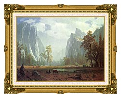 Albert Bierstadt Looking Up The Yosemite Valley Detail canvas with museum ornate gold frame