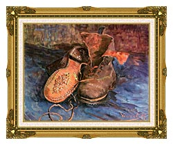 Vincent Van Gogh A Pair Of Shoes canvas with museum ornate gold frame