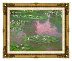 Claude Monet Water Lilies 1905 Detail canvas with museum ornate gold frame