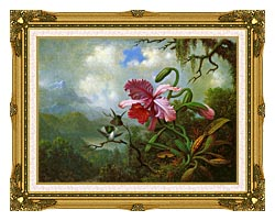 Martin Johnson Heade Orchid And Hummingbirds Near A Mountain Lake canvas with museum ornate gold frame