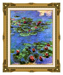 Claude Monet Water Lilies 1914 canvas with museum ornate gold frame