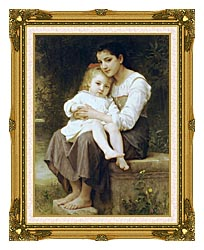 William Bouguereau Big Sister canvas with museum ornate gold frame