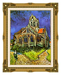 Vincent Van Gogh The Church At Auvers canvas with museum ornate gold frame