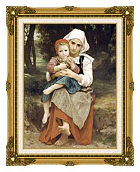 William Bouguereau Breton Brother And Sister canvas with museum ornate gold frame