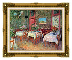 Vincent Van Gogh Interior Of A Restaurant canvas with museum ornate gold frame