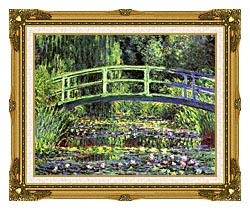 Claude Monet Water Lilies And Japanese Bridge canvas with museum ornate gold frame